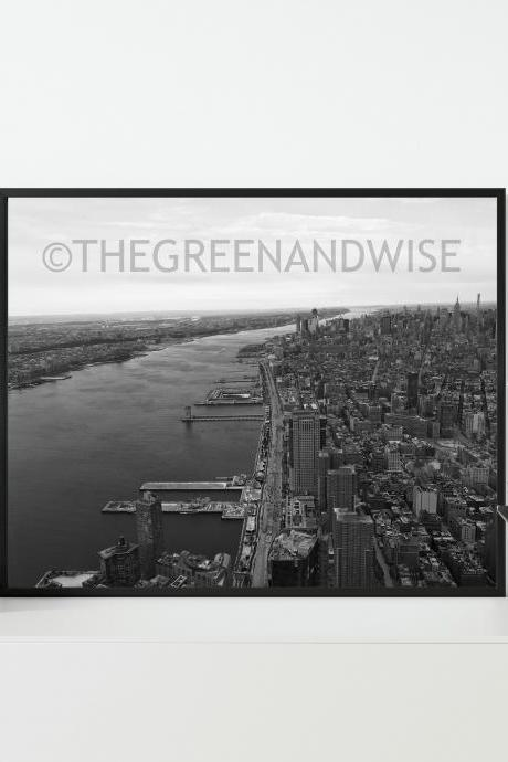 New York City and Hudson River Black and White Photo, Digital Download