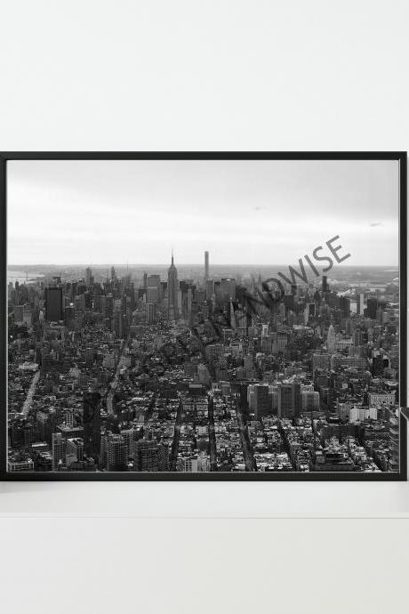 New York City Skyline Black and White Photo Digital Download