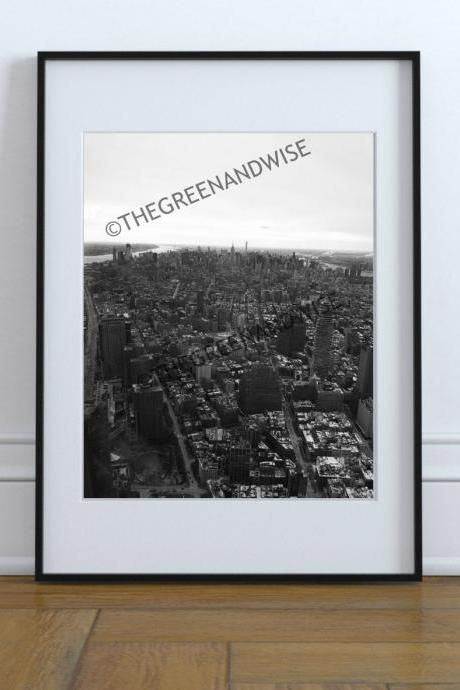 New York City Skyline Black and White Vertical Photo, Digital Download