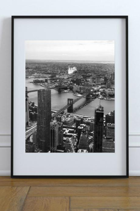 New York City Brooklyn Bridge Black and White Photo, Digital Download