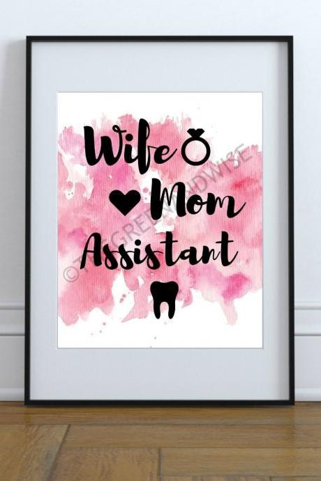 Wife Mom Assistant Wall Art, Printable Digital Download